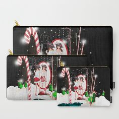 Santa's Whispering Candy Cane Carry-All Pouch by weivy Home Design, Candy Cane Sleigh, Ipad, Pinterest Images, Makeup Pouch, Organize Your Life, Cat Sitting, School Bags, Designer