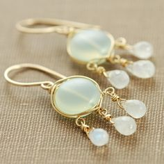 Chandelier Earrings Moonstone Chalcedony 14k Gold Fill by aubepine  Beautiful! So delicate, you could wear these with anything.