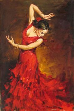 "OIL PAINTING ON CANVAS : ""GYPSY FLAMENCO DANCER"" no framed(China (Mainland"