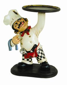 MOOKIE COOKIE CHEF STATUE WITH SERVING TRY Theinteriorgallery.com