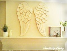 My sister made these incredible angel wings out of cardboard and paper…