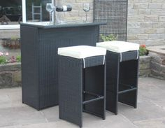 Paradise Black Rattan Outdoor Garden Furniture 3 Piece Bar Set