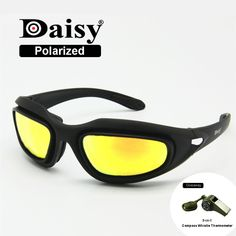 82b5ace896 ... Rx Insert 4 Lens Kit Men Combat War Game Tactical Glasses. Daisy C5 Polarized  Army Goggles