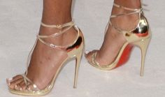 "Amanda Seyfried in Strappy Gold Christian Louboutin ""Benedetta"" Heels"