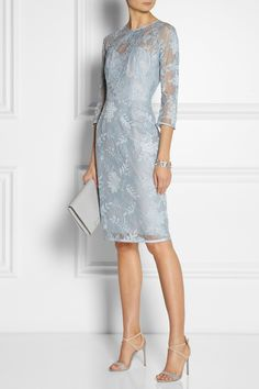 I like this style and length, but in black.  Lela Rose Chantilly lace dress NET-A-PORTER.COM