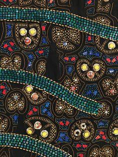 Detail: Textile attributed Sarah Lipska (Polish, 1882–1973). Silk, glass, metal.