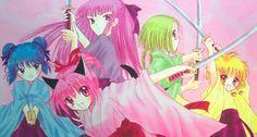 Minto, Zakuro, Ichigo, Retasu, and Buling Boboiboy Anime, Dark Anime, Anime Art, Kawaii Anime, Tokyo Mew Mew, Shugo Chara, Manga Covers, Cardcaptor Sakura, Comic Artist