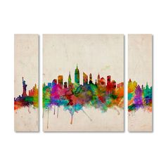 Trademark Art 'New York Skyline' by Michael Tompsett 3 Piece Graphic Art on Wrapped Canvas Set Size: