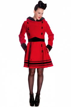 Bunny - Vintage Sofia Hooded Winter Swing Coat in Red