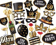 60th birthday Photo Booth props - Instant Download printable PDF. Sixtieth birthday party Photo Booth supplies. Sixty Today - 0156 by Instantgraffix on Etsy https://www.etsy.com/uk/listing/272493346/60th-birthday-photo-booth-props-instant
