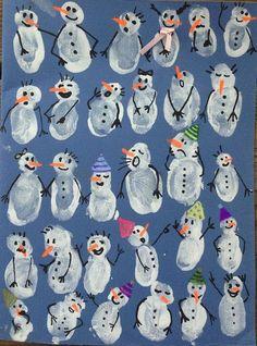 Snowman fingerprint art- cute wintertime craft with kids Christmas Activities, Christmas Crafts For Kids, Kids Christmas, Holiday Crafts, Christmas Decor, Christmas Snowman, Winter Art, Winter Time, Winter Season