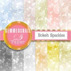 Bokeh digital paper, bokeh sparkles backgrounds in subtle shades of gold and silver x 12