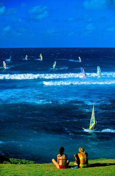Windsurfing at Ho'okipa Beach, near Pa'ia, Maui, Hawaii, USA. Windsurfing must be Hawaii's state sport, at least that's the impression I…