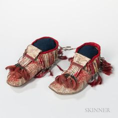 Fully Quill-decorated Moccasins, c. 1880's