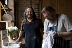 Hairy Bikers washing up in the Kitchen