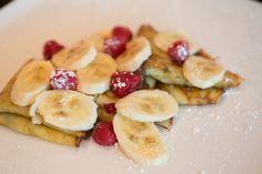Breakfast crepes - nutella + respberry preserves, bananas + raspberries  Copyright - Christine Tremoulet