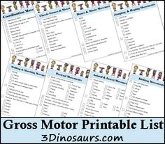 Free Gross Motor Printable List - 3Dinosaurs.com -- great activities for kids to do to build up large muscle coordination
