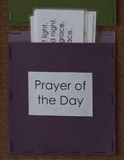 for our classroom calendar, love the idea.  Fantastic way to memorize prayers