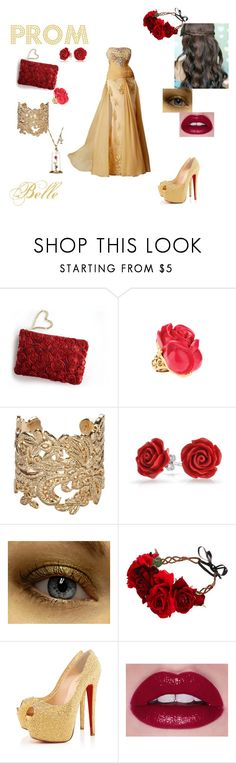 """""""Belle"""" by neverland-dreamer-821 ❤ liked on Polyvore featuring Oscar de la Renta, Bonnie Star, Rock 'N Rose, Christian Louboutin, Disney, Prom and disney"""