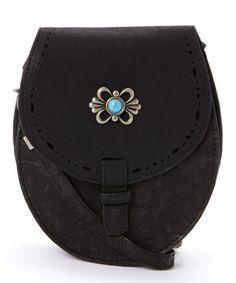 Black Floral Embossed Leather Shoulder Bag