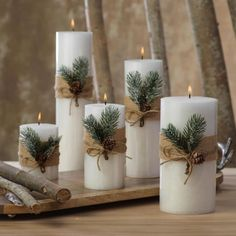 Siberian Fir Fragranced Pillar Candles The Effective Pictures We Offer You About DIY Candles no wax A quality picture can tell you many things. You can find the mo Noel Christmas, Christmas Candles, Simple Christmas, Christmas Wreaths, Christmas Crafts, Beautiful Christmas, Advent Wreaths, Modern Christmas, Christmas Ideas