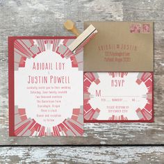 """Deco Alchemy - Ignis"" red & gray wedding invitation by Royal Steamline"