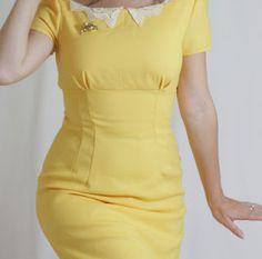 Dress: bust gathers, dart shaping, short sleeves, pencil skirt, lacke collar (Sharpe)