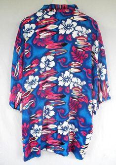 8b2a3f82 Gallary Hawaiian Shirt Floral Surfboard Hibiscus Blue Pink Bright Mens 4XL  #Gallary #Hawaiian Hibiscus