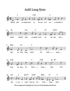 Auld Lang Syne, free lead sheet with lyrics to help celebrate New Years Eve. Clarinet Sheet Music, Piano Sheet Music, Guitar Chords And Lyrics, Music Lyrics, New Year Eve Song, Tlc Music, Piano Cords, Great Song Lyrics, Keyboard Lessons