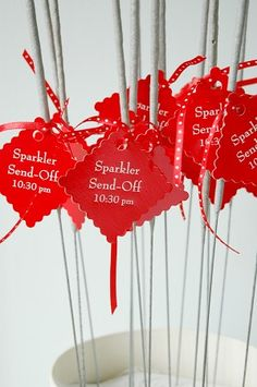 Good idea for sparklers... a send off tag telling the time.