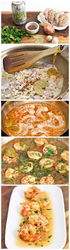 Spicy Drunken Shrimp Recipe, added parsley when add the shrimp and tbsp butter.  Ommision Lager, add salt to finish dish. Serve with crusty garlic roll.  Will make this over and over, yummy!