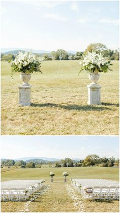 Outdoor wedding ceremony decor, large cream floral arrangements, white petals down the aisle, white chairs // Rachel May Photography