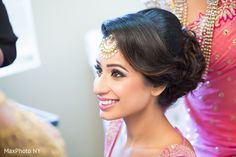 Sweet sikh bride makeup and hairstyle. http://www.maharaniweddings.com/gallery/photo/96761