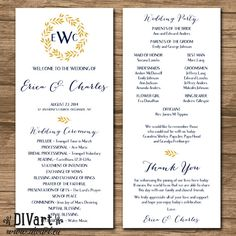 Wedding Program, Ceremony Program - PRINTABLE files - rustic wedding, garden wedding, resort wedding, wreath, leaves, navy and gold - Erica