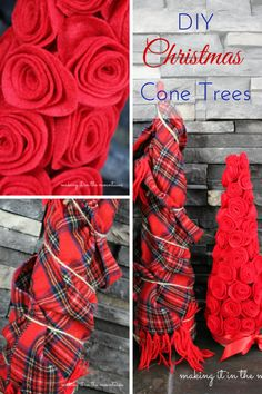 Festive Cone Christmas Trees - making it in the mountains - tamtamzeze. Cone Trees, Small Christmas Trees, Christmas And New Year, Winter Christmas, All Things Christmas, Christmas Home, Christmas Decorations, Christmas Projects, Holiday Crafts
