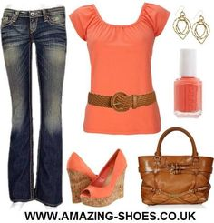 coral is such a pretty color...i like the simplicity of this, and those shoes are awesome