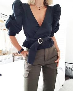 boutiquefeel / Solid Color Puff Sleeve V-neck Tie Belt Top Stylish Work Outfits, Stylish Shirts, Chic Outfits, Casual Shirts, Fashion Outfits, Fashionable Outfits, Dressy Outfits, Fashion Clothes, Shirt Skirt