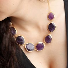 Purple Amethyst Stones Necklace by toosis on Etsy, She has matching bracelet, Stunning set put together!