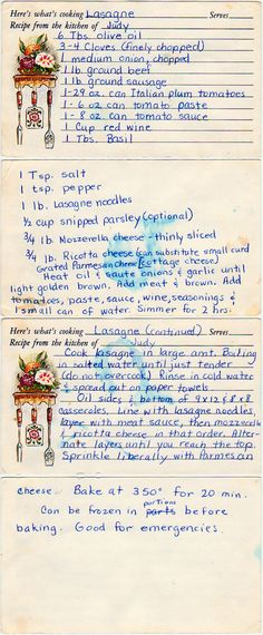 Lasagna - from old recipes. Neat to browse :: Family Recipes :: preserving recipes :: In the Kitchen :: Good Ole Days :: from the heart :: old fashion cookery (Italian Recipes Manicotti) Retro Recipes, Old Recipes, Vintage Recipes, Pasta Recipes, Italian Recipes, Beef Recipes, Cooking Recipes, Family Recipes, Italian Foods