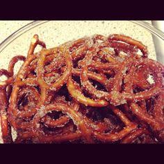 Cinnamon sugar coated pretzels