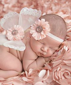 Loving this Nest Of Many Colors Pink Whimsy Glitter Flower Headband & Wing Set on Glitter Flowers, Bright Flowers, Baby Girl Fashion, Kids Fashion, Baby E, Love Bugs, Baby Girl Headbands, Butterfly Wings, Baby Pictures