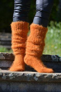 handmade mohair socks HAND KNITTED unisex mohair socks fuzzy