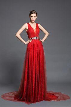 Robe de soirée rouge longue col en V