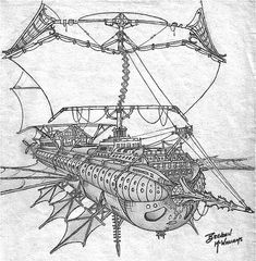 Steampunk flying ship