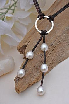 Pearl and Leather Sterling Silver Lariat Necklace - Pearl and Leather Jewelry Collection