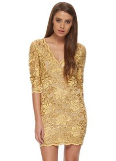 Baccio Bruna Dress Crystal & Gold Painted Lace With 3/4 Sleeves