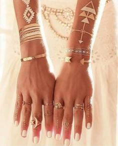 Golden Tattoos Chains Triangles