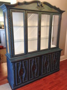 Retro Homestead Blue Buffet & Hutch Milk Paint
