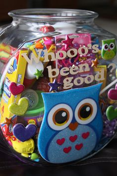 """Reward students for behaving well or participating in class with a """"Whooo's been good?"""" jar filled with fun toys. Purchase your container, treats, favors, and more from Dollar Tree for $1 each!"""