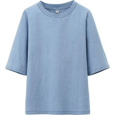 WOMEN PURE BLUE JAPAN WASHED CREW NECK HALF SLEEVE CROPPED T